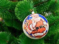 Новогодние украшения шары  декупаж перламутр 10 см 6 штук