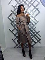 Женское модное прямое платье на пуговицах с поясом (3 цвета), фото 1