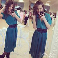 Женское красивое шифоновое платье-плиссе (4 цвета) коралловый, С