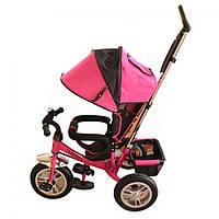 Велосипед детский трехколесный с ручкой M 3113-6A-A розовый надувные колеса