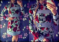 """Женское красивое платье """"Розы"""" с украшением, фото 1"""