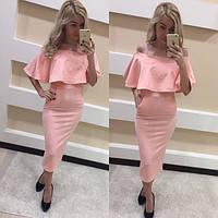 Женское красивое розовое платье с воланом, фото 1