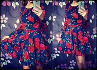 Женское красивое платье с пояском, фото 1