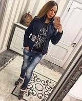 Женская модная куртка весна на молнии (4 цвета) темно-синий, 48
