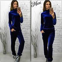 Женский стильный бархатный костюм: кофта и брюки (5 цветов)
