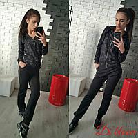 Женский стильный костюм: кофта на молнии и брюки (5 цветов)