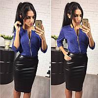 Женский модный комплект: кофточка на молнии и утепленная юбка из эко-кожи с карманами (2 цвета)