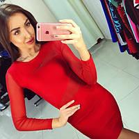 Женское красивое платье-утяжка с сеткой (2 цвета) красный