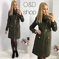 Женское модное демисезонное пальто с ремнем зеленый, 42
