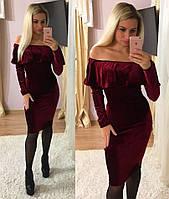 Женское стильное бархатное платье рюша (3 цвета)