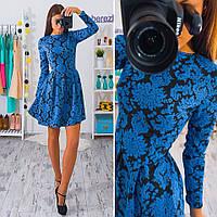 Женское стильное платье с узором и юбкой-солнце (14 цветов)