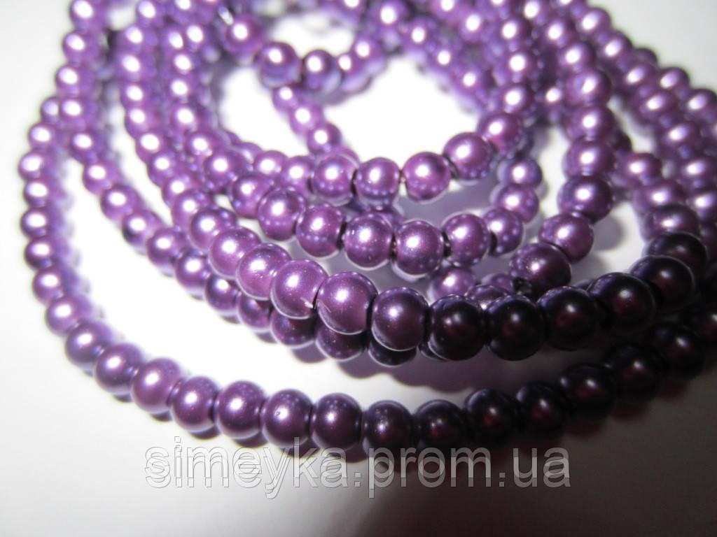 Жемчуг керамический 4 мм, упаковка 50 шт. Фиолетовый