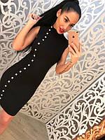 Женский модный вязанный комплект: жакет и платье (3 цвета) черный, 42-44