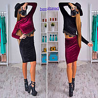 Женский модный бархатный костюм: топ и юбка (6 цветов)
