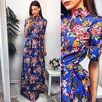 Женское стильное платье-рубашка в пол с цветами (расцветки)