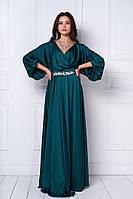 Женское праздничное шелковое платье в пол с украшением (7 цветов)