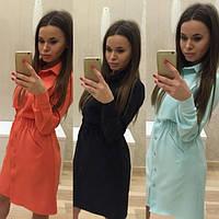 Женское красивое платье-рубашка на пуговицах (4 цвета) мятный