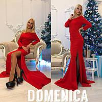Женское стильное платье в пол с разрезом красный, 54