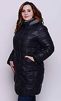 Женская зимняя куртка больших размеров (2 цвета) черный, 52