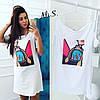 Женское модное белое платье-футболка