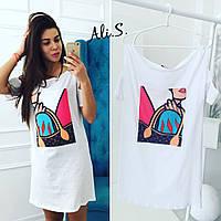 Женское модное белое платье-футболка, фото 1