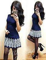 Женское шикарное платье без рукава и вышивкой по низу (5 цветов) красный, 36(С)