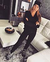 Женский модный вязаный костюм: свитер и штаны (4 цвета) черный, 42-46