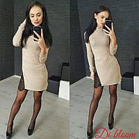 Женское стильное теплое платье-туника со вставкой гипюра (4 цвета) беж, 42-44