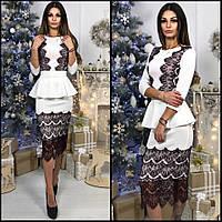Женское стильное платье из трикотажа с кружевом (4 цвета)