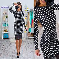 Женское стильное платье в горошек с дорогим кружевом (2 цвета)
