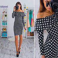 Женское модное платье в горошек с рюшей (2 цвета) белый, S-M