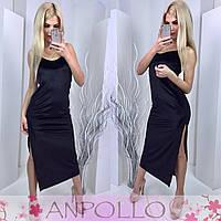 Женское стильное бархатное платье с разрезом (3 цвета)