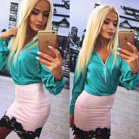 Женский красивый костюм: блуза и юбка (расцветки), фото 1
