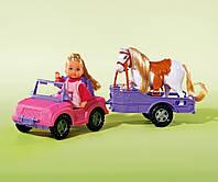 Куклы и пупсы «Simba» (5737460) Эви и джип с трейлером и конем