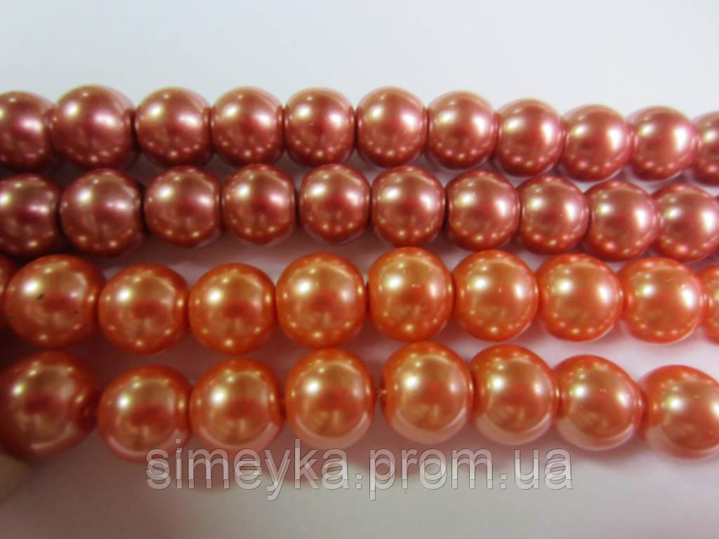 Уценка!!! Жемчуг керамический 8 мм, нить 24 шт. Оранжевый