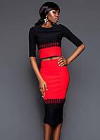 Женский шикарный костюм с кружевом: топ и юбка (4 цвета) красный, ХЛ