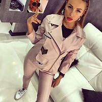 Женская модная кожаная куртка и лосины (отдельно)