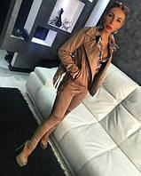 Женская стильная замшевая куртка и лосины (отдельно), фото 1