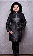 Женский стильный пуховик-пальто больших размеров  44