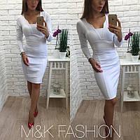 Женское стильное платье с эффектом утяжки (2 цвета) белый, S-M