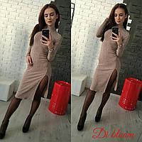 Женское модное платье с разрезом по ноге (6 цветов)