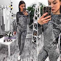 Женский модный велюровый костюм с молнией серый, S-M