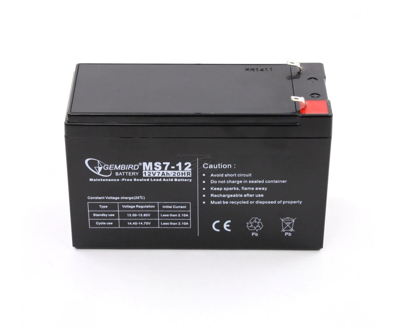 Аккумулятор АКБ 12 В, 7А для охранных и пожарных сигнализаций