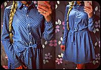 """Женское стильное джинсовое плтье-рубашка """"Звезды"""", фото 1"""