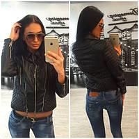 """Женская модная """"кожаная"""" куртка с молниями (+ большие размеры) С"""