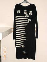 Черное платье с белым рисунком