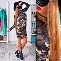 Женское модное платье в стиле милитари с рукавами из эко-кожи