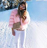 Пошив VIP класса Женская Шубка из натурального меха песца Автоледи Розовая