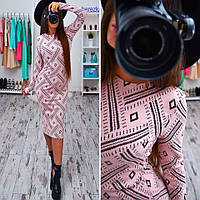 Женское стильное платье-миди с узором (2 цвета)