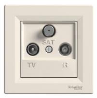 Schneider Electric Asfora Розетка TV-R-SAT концевая (1дБ) кремовая